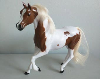 Vintage horse, plastic horse toy, Vintage Horse, VIntage toy horse, Collectable plastic toy horse, Brown and white Maire