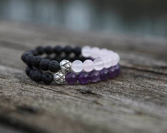 Lotus Flower Bracelet, Lava Stone, Amethyst, Rose Quartz, Aromatherapy Jewellery, Essential Oil Diffuser, Healing Gemstones