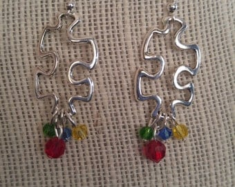 Autism Awareness Earrings Silver/Gold