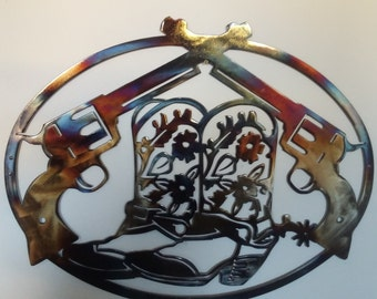 "Cowboy Boots And Pistols Oval Design, Western Metal Art, Wall Decor - HEAT COLORED, 20"" (50 cm)"