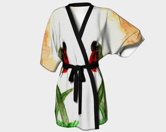 Ladybird, Ladybug, Kimono Robe, Dressing Gown, Bridesmaid Robe, Coverup, Spa Robe,Swimsuit Coverup, Robe, Knit, Chiffon insect, lady bug,bug