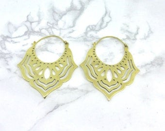 Lotus flower Hoops earrings, Tribal earrings , Bohemian Boho earrings , brass