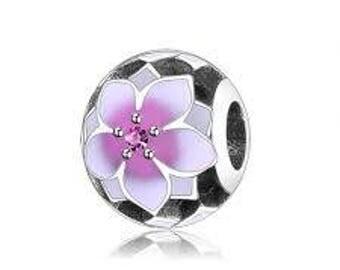 Authentic Pandora Magnolia Bloom Charm, Pale Cerise Enamel & Pink CZ Item #792087PCZ