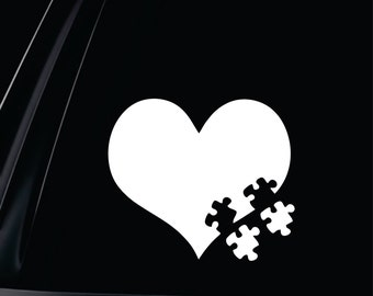 Autism Hearts Two Puzzle Pieces Vinyl Decal