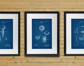 Golf Patent Posters Set of 3, Golf Gifts for Men, Golf Decor, Office Decor, Golf Club, Golf Ball