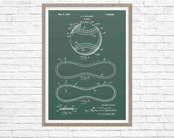 Baseball Art, Baseball Patent, Baseball Decor, Boys Room Decor, Baseball Wall Art, Sports Decor, Patent Poster, Wall Decor, Home Decor