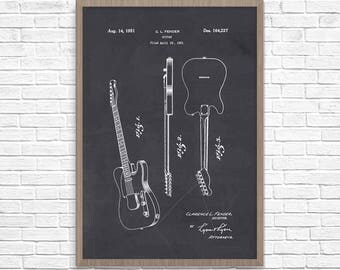 Guitar Patet, Fender Patent, Fender Art, Fender Telecasterm. Guitar Wall Art, Telecaster Patent, Electric Guitar, Guitar Patent Art