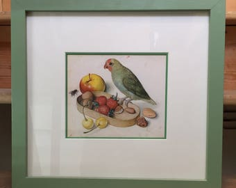Still Life with Parrot in a Hand-painted Frame