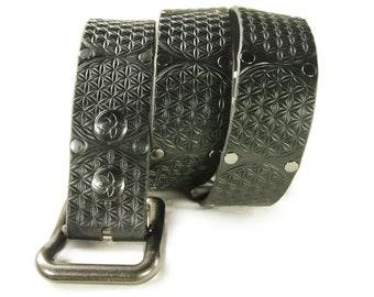 Premium Italian Leather Belt - Flower of Life
