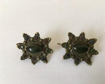 Vintage Sorrelli Earrings Rhinestones Large Black Stone Nice Patina