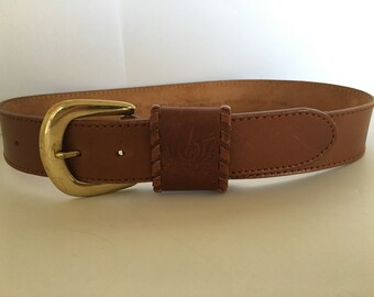 Quality Vintage Liz Claiborne Women's/Jrs  Brown Wide Leather Belt Solid Brass Buckle Sz 24-26 (Slim waist)