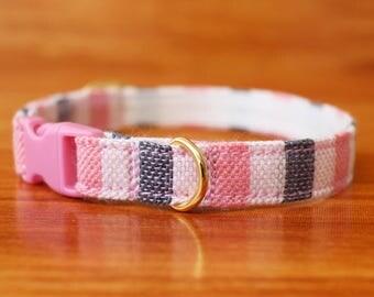 Warm Pink Cat Collar, Chocky Cat Collar, Chocky Cat Collar Breakaway, Pink Cat Collar, Kitten Collar, Small Dog Collar, Custom Cat Collar