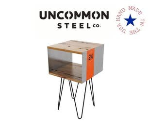 Industrial Nightstand, Hairpin Side Table, Reclaimed End Table, Industrial Chic Furniture, Rustic Night Stand, Mid Century Modern Side Table