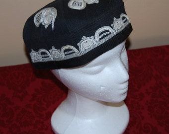 Vintage Black Embroidered Russian Hat