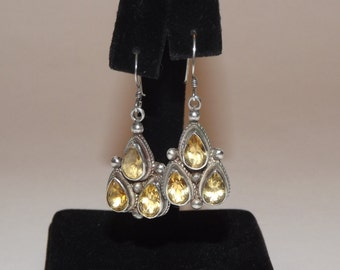 Lovely Vintage Sterling Silver & Citrine Dangle Wire Earrings