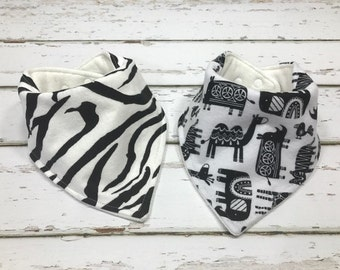 Organic Baby bib baby shower Gift neutral shower gift Bandana bib black and white Bib Drool bib zebra baby bib gender neutral baby shower
