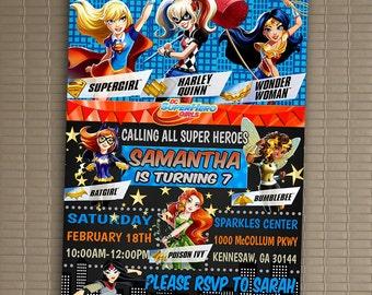 DC Superhero Girls Invitation, You Print Invitation, DC Superhero Girls Birthday, DC Superhero Girls Birthday Party Invitation