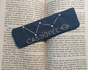 "Bookmark ""Cassiopeia"" - space - space constellation hand embroidered"
