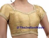 Golden Saree Blouse, Readymade Saree Blouse, Kundan & Mirror Work Dupion Silk Sari Blouse, Designer Saree Blouse, Crop Top, Choli, blouse