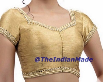 Golden Saree Blouse, Readymade Saree Blouse, Kundan & Mirror Work Dupion Silk Sari Blouse, Designer Saree Blouse, Crop Top, Choli, blouse