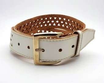 White Sears Cut out Leather Women's Belt Metal Buckle Made in Canada Cowhide and Vinyl Belt