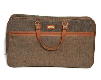 Samsonite Tweed Luggage Vintage Suitcase Brown Woven Fabric and Tan Leather Trims Baggage Mid Century Travel Bag