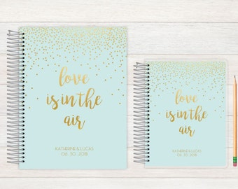 Wedding Journal, Wedding notebook, custom Wedding journal, Personalized Bridal journal, Personalized journal, love is in the air