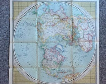 1946 Vintage map of the Northern Hemisphere national geographical society old world map wall art interior design lithog