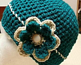 Women's Crochet Button Hat