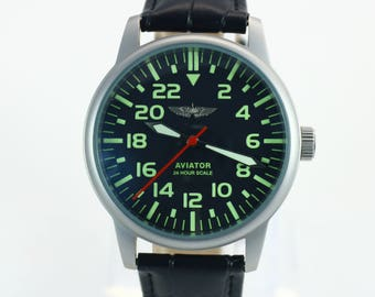 Raketa watch, Aviator watch, military watch, 24 hour, mens watch, vintage watch, soviet watch, mechanical watch, ussr watch, russian watch