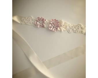 Flower wedding sash belt, wedding sash, wedding belt, lace wedding sash