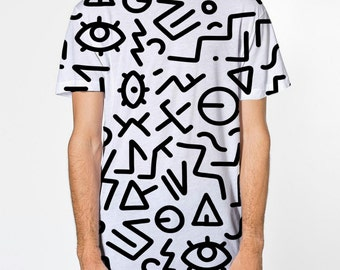 All Over Print rune pattern T-shirt, sublimation printed front and back