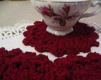 4 Piece Crochet Coaster Doily Set Tea Coasters Coffee Mug Coaster Home Decor Coaster Collection 2