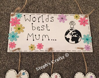 special occasion, mothers day, mum, best mum, mothering sunday, Personalised Plaque, Personal, gift, present, hanging plaque, plaque