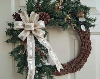 SALE PRICE    Winter Wreath   Christmas Wreath   Holiday Wreath   Front Door Wreath   Gold Wreath   Pinecone Wreath