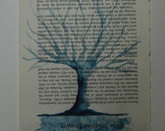 5x8 Blue Tree - Watercolor Painting - Book Pages - Wall Decor