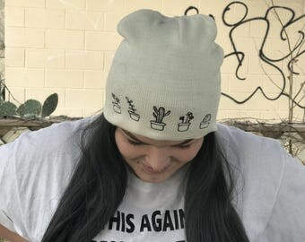 White Succulent plants beanie | tumblr aesthetic
