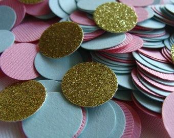 Blue, Pink and Gold Confetti 150ct- Pink Baby Shower Confetti, Pink, Blue and Gold Wedding and Bridal Table Decor, Party Theme Confetti