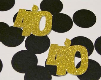 40th Number Confetti-40th Gold Glitter Confetti, Gold and Black Birthday Confetti, 40th Gold table decor, Gold Glitter Anniversary Confetti