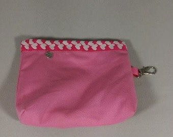 Handmade in the UK Pretty Pink Little Dog's Treat Trimmed with Pink and White Heart Patterned Ribbon. Matching Collar Available