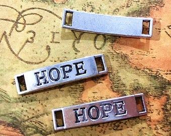 20pcs--Hope charms silver tone Rectangle Hope Charm pendants, Hope Tag Charm Connector 6x28mm ASD0160