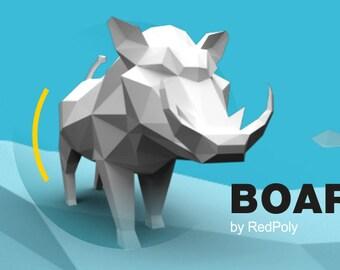 Boar Papercraft PDF DIY Low Poly paper Aper Papercraft Sculpture Pig Paper Craft Pets
