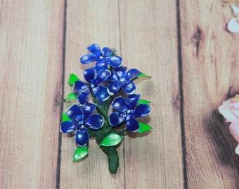Barrette, Brooch dark-blue flowers, Gift for Women, Gift for a Girl, Gift for a Mom