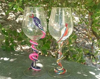 Handpainted Wine Glasses/ Champagne Flutes Coiled Snake/Serpent around glass Dining Entertaining Handmade Expressive Detail Red Gold Green