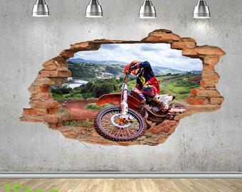 Motorbike Wall Sticker 3d Look - Boys Kids Bedroom Extreme Sport Wall Decal Z437