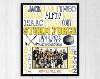 HOCKEY COACH GIFT ~ Hockey Team Gift ~ Custom Printable Hockey Team Photo Gift ~ Boys Hockey Print ~ End of Season Ice Hockey Gift ~Digital