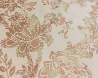 """Vintage Waverly """"Venzia"""" pattern light weight combed cotton on pale peach pink."""