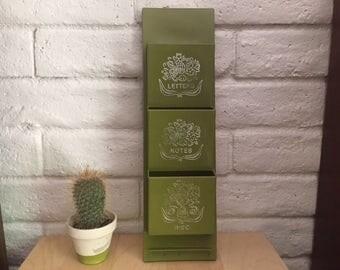 Vintage Green Plastic Mail Organizer
