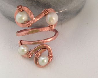 Copper and Fresh Water Pearl Ring // Unique Statement Ring