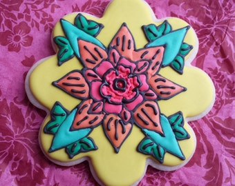 Flower Tatoo inspired Sugar Cookie, Design Floral Tatoo Comic Design Colorful Custom Sugar Cookie